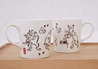 タリーズ、うさぎやカエルがコーヒータイムを楽しむ「鳥獣戯画」シリーズの新アイテム