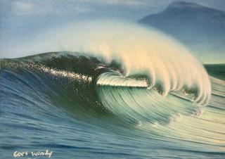 波を描くサーフアーティストのGoes Windy氏の展覧会「Wave is my life.」