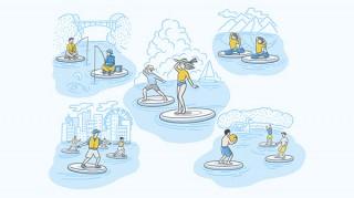 ヤンマーが開発したマリンアクティビティ「Wheeebo」による新しい遊びかたのアイデア公募
