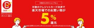 楽天市場、10月1日からの消費税増税でポイント5%分を還元する「特設ページ」公開