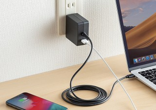 サンワサプライ、PD出力対応のType-Cケーブル一体型ACアダプタを発売