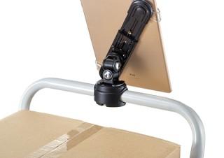 サンワサプライ、丸パイプに取り付けできるタブレット用フレキシブルアームを発売