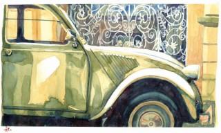 BMWのクリエイティブディレクターを務める永島譲二氏の水彩画展「ヨーロッパ自動車人生活」