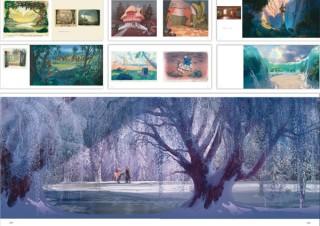最新作「アナ雪2」を含む、ディズニーアニメの背景画400点超を収録した「背景美術集」。玄光社より