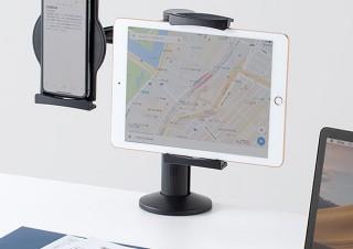サンワサプライ、端末を2台同時設置できるタブレットアームスタンド発売