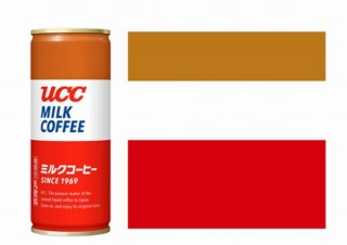 UCCミルクコーヒーの『茶色・白色・赤色』の組み合わせ、色彩のみからなる商標として登録