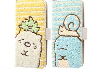 イングレム、ふわふわのタオル生地とサガラ刺繍による「すみっコぐらし」の手帳型スマホケースを販売