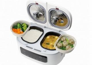 炊飯器とおかず調理器をひとつにまとめて一度に最大4品作れる「ツインシェフ」