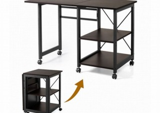 コンパクトなワゴンからデスクや作業台サイズに広げられる「折り畳みデスク」発売