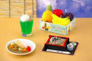 カメヤマ、ざるそばやフルーツ詰合せなど「好物キャンドル」4種類を発売