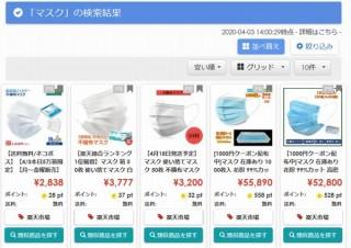 価格比較サイトShoply、幅広いサイトからマスク等情報を集めた特設ページ公開