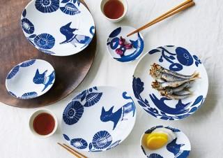 フェリシモ、和柄の猫イラストがかわいい皿セットを発売
