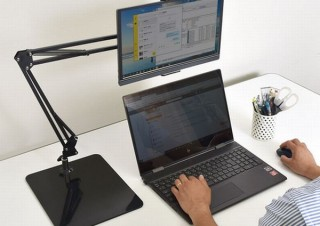 サンコー、モバイルディスプレイやタブレットを固定できる「アームスタンド」発売