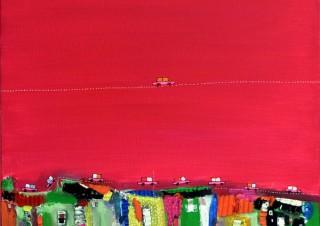 力強い色彩が特徴的なセネガル出身の画家ドウツ氏の最新作を披露する「ドウツ作品展」