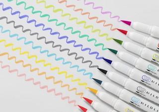 ゼブラ、2Wayで使えるカラフル筆ペン「マイルドライナーブラッシュ」に新色10色を追加