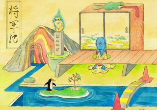 描き下ろしの新作から普段の仕事ではあまり描かないような絵まで紹介される死後くんの個展「将軍池」