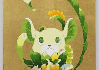 愛らしい表情の動物や多肉植物が描かれた作品などを紹介している住吉明子氏の個展「Parade」