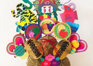 13名のアーティストが装飾を施した熊手を展示販売するグループ展「招福熊手展」