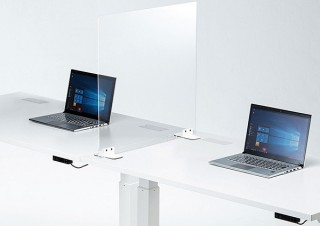 サンワサプライ、卓上設置できる透明アクリル製パーティションを発売