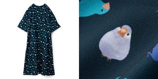 フェリシモ、リアルな文鳥とシルエットをちりばめてプリントしたデザインのワンピースを発売