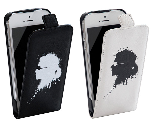 「Karl Lagerfeld Graffiti Collection Leather Hard Case with Flap for iPhone 5」
