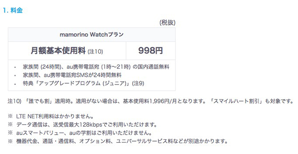 「mamorino Watchプラン」