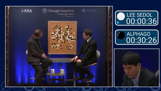 イ・セドル(白)が優勢の盤面 Match 4 - Google DeepMind Challenge Match: Lee Sedol vs AlphaGoより