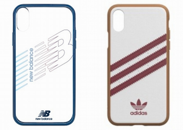 左:「New Balance ハイブリッドクリアケース」 右:adidas Originals SAMBA OG Moulded case for iPhone XS white/red